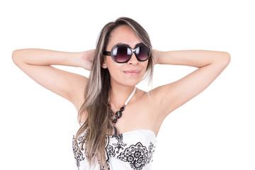 beautiful young woman wearing sunglasses and long summer dress