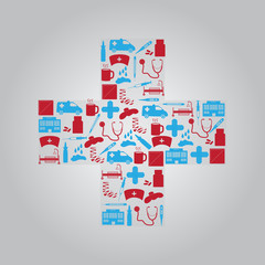 hospital and sick icons in cross eps10