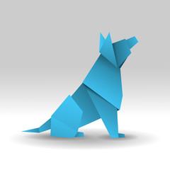 pies origami wektor
