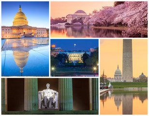 Wall Mural - Washington DC famous landmarks picture collage