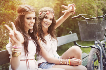 Two beautiful women in summer day