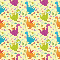 Seamless pattern, cartoon colorful Dragons