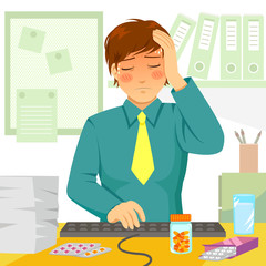 man feeling sick at work