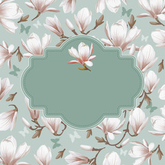 Retro flower card- magnolia