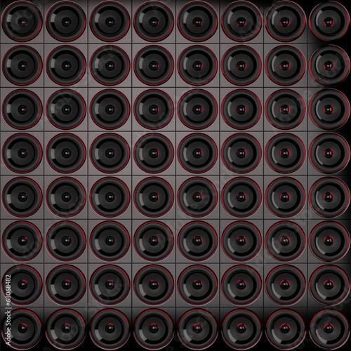 Lautsprecher Wand   Schwarz Rot