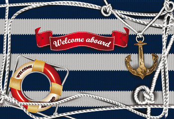 Sea background with the anchor shaped pendant