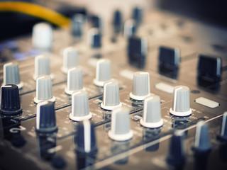 Closeup of dj controller - selective focus