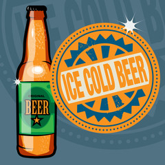 Abstract stamp or label with the text Ice Cold Beer