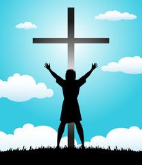 silhouette di donna davanti al crocifisso