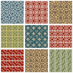 Retro style tiles seamless patterns set.