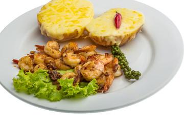 Garlic shrimps with potato