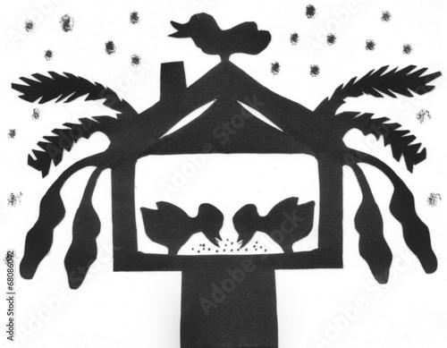 scherenschnitt v gel im vogelhaus bei schneefall. Black Bedroom Furniture Sets. Home Design Ideas