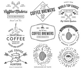 Coffee badges and labels black