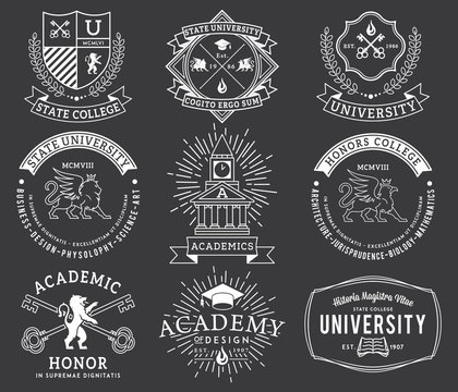 College and University badges 2 WB