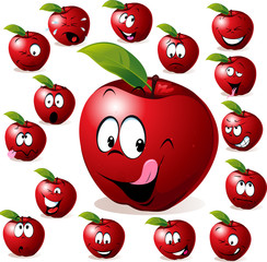 red apple with many expressions