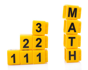 Educational cubes with different numbers and letters isolated