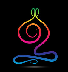 Rainbow yoga meditation logo vector
