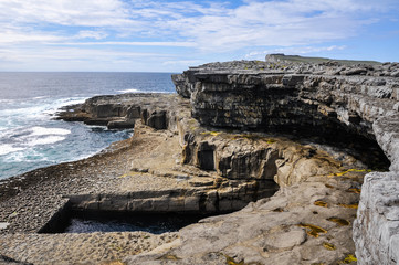 The Worm Hole, natural pool in  Inishmore, Aran islands, Ireland