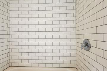 Tile wall trim in bathroom
