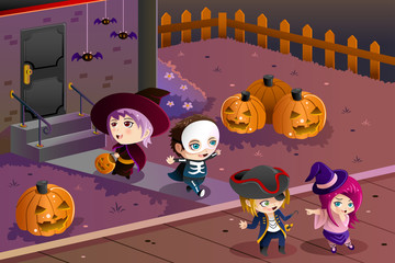 Kids wearing Halloween costumes