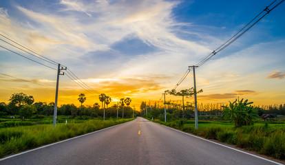 asphalt road on twilight