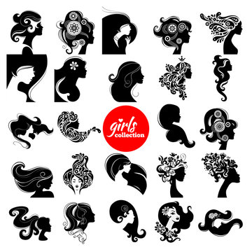 Beautiful women silhouette. Girls collection.