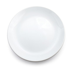 White dish isolated.