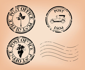 vector grungy post stamps
