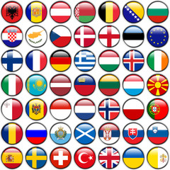 All European Flags - circle glossy buttons, isolated on white