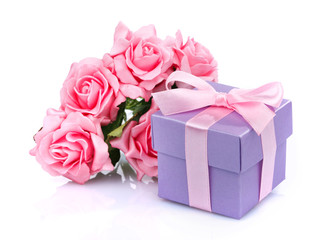 pink flowers and  gift box
