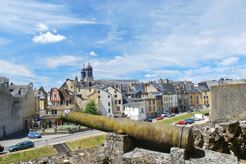 view of town Sedan from castle rampart, France