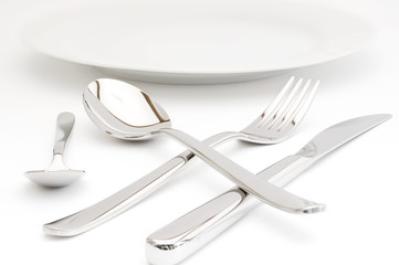 Eßbesteck und Teller
