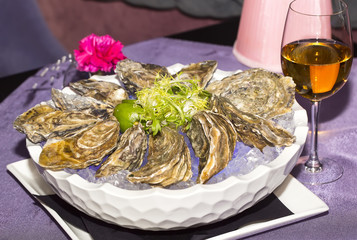 oysters on ice in a dish on a table in a restaurant