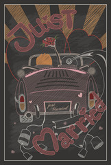 Just married wedding invitation card design in vintage style wit