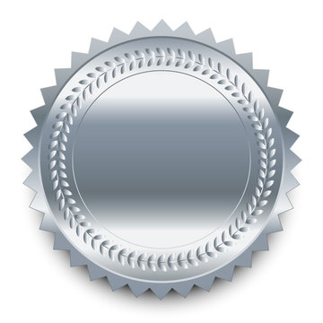 Vector design element. Round silver medal with pattern and shado