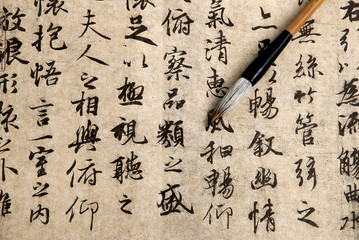 Traditional chinese calligraphy on beige paper