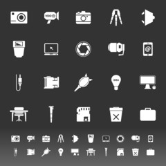 Photography related item icons on gray background