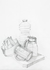 drawing of still life with objects