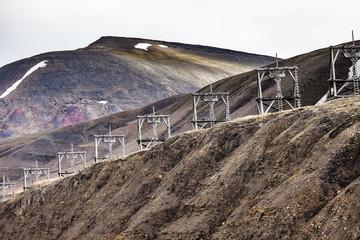 Aerial coal mining towers, Longyearbyen, Svalbard, Norway
