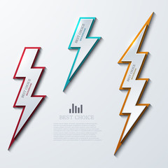 Vector lightning bolt banners set. 3 variants.