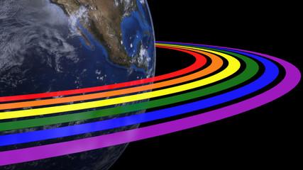 Earth with LGBT rainbow