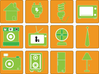 Vector, equipment in home icon set