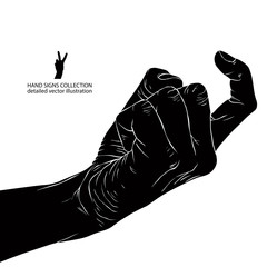 Come on detailed black and white vector hand sign