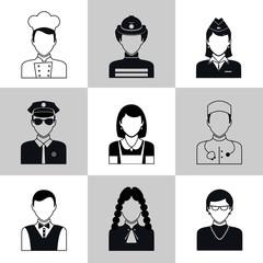 Avatar icons black set
