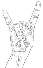 Rock on hand sign, rock n roll, hard rock, heavy metal, music