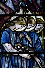 Fototapete - Three angles (grieving) in staiend glass
