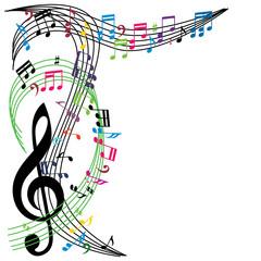 Music notes background, stylish musical theme