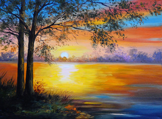 Photo sur Aluminium Brique oil painting landscape - tree near the lake