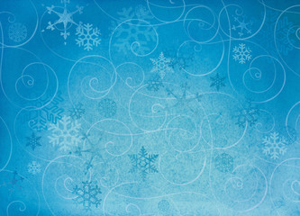 Textured winter snowflake backgroud with swirls.