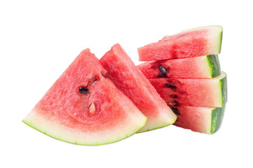 Watermelon pieces on white background